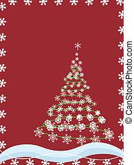 resumen, árbol, navidad, copos de nieve