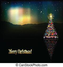 resumen, árbol, saludo, estrellas, navidad