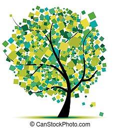 resumen, árbol, verde, para, su, diseño