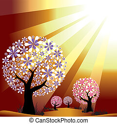 resumen, árboles, en, dorado, explosión, luz, plano de fondo
