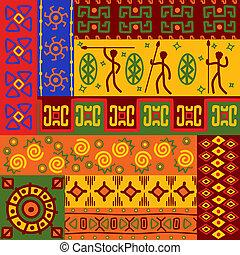 resumen, étnico, patrones, y, ornamentos