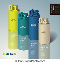 resumen, 3d, cilindro, infographics