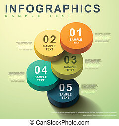 resumen, 3d, cilindro, infographics