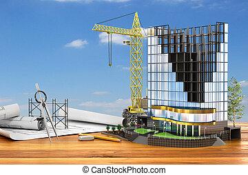 resumen, 3d, de, edificio, desarrollo, concept., edificio de oficinas, en, proceso, de, construction., 3d, ilustración