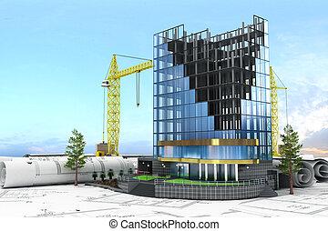 resumen, 3d, de, edificio, desarrollo, concept., edificio de oficinas, en, proceso, de, construction.