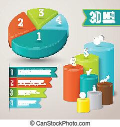 resumen, 3d, infographics, plantilla