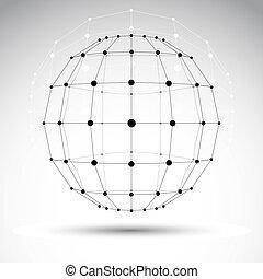 resumen, 3d, origami, polygonal, wireframe, objeto, vector,...