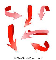 resumen, 3d, rojo, flechas, conjunto