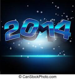 resumen, año, ilustración, vector, nuevo, 2014
