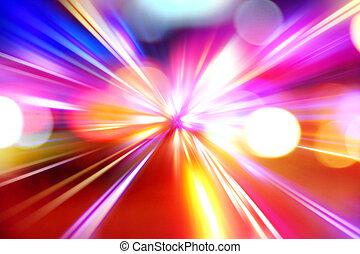 resumen, aceleración, velocidad, movimiento, en, noche,...