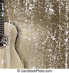resumen, agrietado, plano de fondo, guitarra clásica