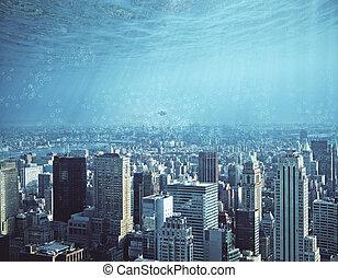 resumen, agua, ciudad, fondo