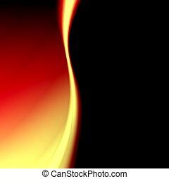 resumen, amarillo, futurista, plano de fondo, negro, rojo