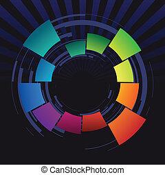 resumen, anillo, coloreado