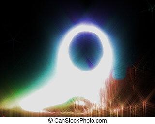 resumen, anillo, plano de fondo, brillante, brillado