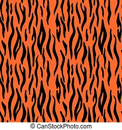 resumen, animal, print., seamless, vector, patrón, con, tigre, stripes., textil, repetir, tigre, piel, background;