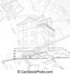 resumen, arquitectónico, plano de fondo