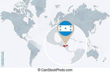 resumen, azul, mapa del mundo, con, magnificado, honduras.