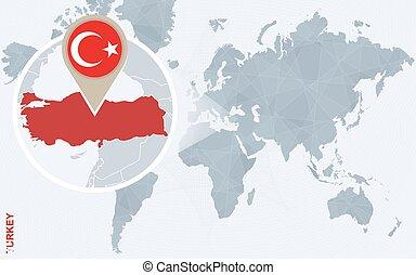 resumen, azul, mapa del mundo, con, magnificado, turkey.
