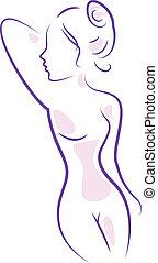 resumen, balneario, cuerpo de mujer, aislado, blanco