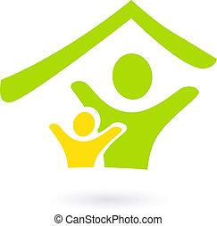 resumen, bienes raíces, familia , o, caridad, icono, aislado, blanco