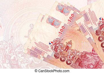 resumen, billete de banco., 100, pila, nacional, tailandés, ...