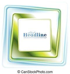 resumen, brillante, color azul verde, cuadrado, logotipo, diseño