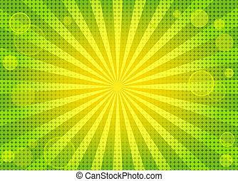 resumen, brillante, fondo verde, w