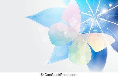 resumen, brillante, plano de fondo, con, flor, y, butterfly.