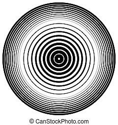 resumen, círculo, element., círculos concéntricos, onda, effect., vector.