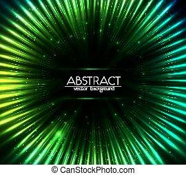 resumen, cósmico, luces, fondo verde, brillar