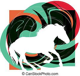 resumen, caballos, silhouettes., vector