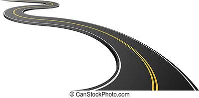 resumen, camino de asfalto, aislado, blanco, fondo.