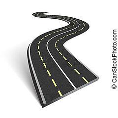 resumen, camino de asfalto