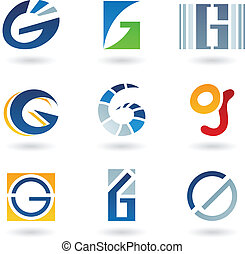 resumen, carta g, iconos