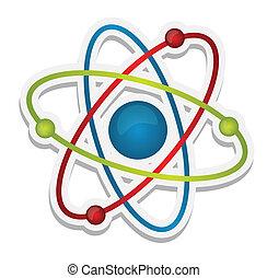 resumen, ciencia, icono, de, átomo