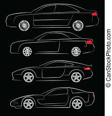 resumen, coche, siluetas