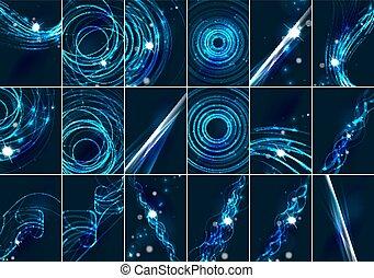 resumen, color, encendido, líneas, en, oscuridad, espacio,...