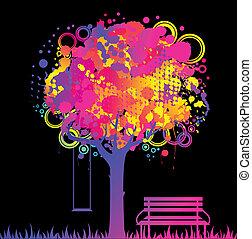 resumen, colorido, árbol