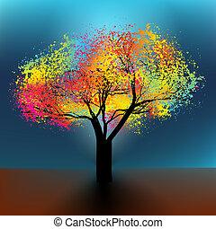 resumen, colorido, árbol., eps, 8