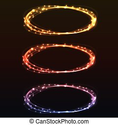 resumen, colorido, brillo, luz, anillos, diseño, element.