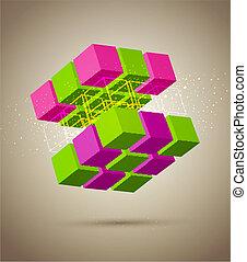 resumen, colorido, cubo