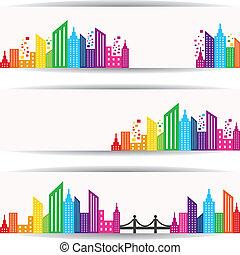 resumen, colorido, diseño de edificio