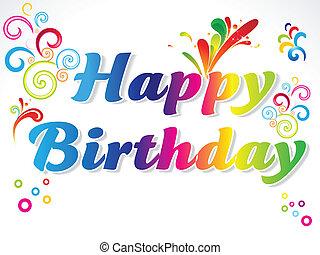 resumen, colorido, feliz cumpleaños