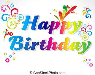 resumen, colorido, feliz cumpleaños, tarjeta