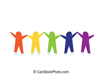 resumen, colorido, personas papel, aislado, blanco