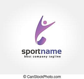 resumen, condición física, hombre, vector, logotipo, icono,...