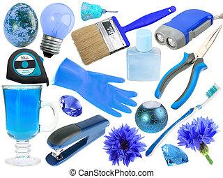 resumen, conjunto, de, azul, objetos