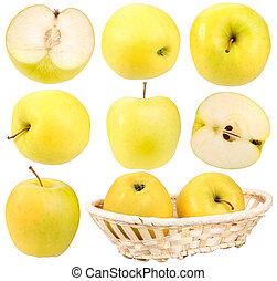 resumen, conjunto, de, fresco, amarillo, manzanas