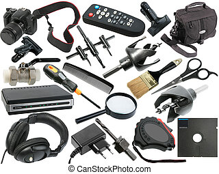resumen, conjunto, de, negro, objetos
